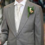 Костюм мужской беж, р-р 46-48, рубашка, жилет, 2 галстука, Новосибирск