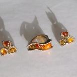 Кольцо + серьги. Серебро, янтарь. Эксклюзив., Новосибирск