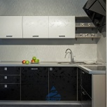 Кухня Постформинг черно-белый Лотос (погонный метр), Новосибирск