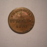 БАВАРИЯ 1 пфенниг 1870, Новосибирск