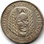 Германия (ФРГ) 5 марок 1966 Серебро. Лейбниц, Новосибирск