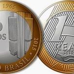 Бразилия 1 реал 2015 !! 50 лет центральному банку, Новосибирск