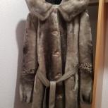 Шуба мутоновая с норковым капюшоном, б/у, Новосибирск