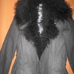 Пальто джинсовое утеплено воротник лама 44-46р - модно сделать рваным, Новосибирск