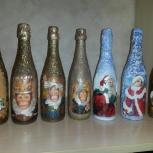 Бутылка в технике декупаж, Новосибирск