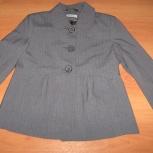 Пиджак красивый серый Германия, 42-44 р, модный фасон, шерсть, Новосибирск