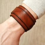 Мужской браслет из натуральной кожи, ручная работа, Новосибирск