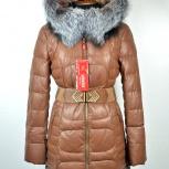 Пуховик женский Эко-Кожа, нат. мех 44-52 размеры, Новосибирск
