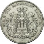 Гамбург 5 марок 1900 серебро. Год пореже, Новосибирск