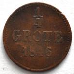 Ольденбург 1/4 грот (пфеннинг) 1846 редкость, Новосибирск