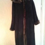 Продам длинную дубленку темно серого цвета, Новосибирск