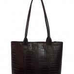 Классическая сумка из натуральной кожи темно-коричневого цвета, Новосибирск