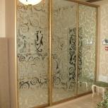 Шкаф купе шир 2,7м выс 2,6 м. Двери с пескоструйным рисунком, Новосибирск