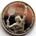 Ниуэ 50 долларов 1987 Серебро. Олимпиада. Теннис. Беккер, Новосибирск