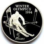 Новая Зеландия 5 долларов 1994 Серебро. Олимпиада. Слалом, Новосибирск