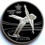 Канада 20 долларов 1987 Серебро. Олимпиада. Фигурное катание, Новосибирск