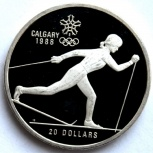 Канада 20 долларов 1986 Серебро Олимпиада. Лыжи, Новосибирск