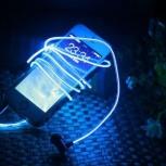 Светящиеся наушники Glow с EL свечением (три цвета в наличии), Новосибирск