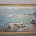 "картина ""Байкал"",50х70,масло,оргалит 1982г, Новосибирск"