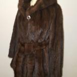 Цельная очень красивая норковая шуба с капюшоном и поясом., Новосибирск