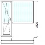 Балконный блок (дверь + глухое окно) под ключ в кирпичный дом, Новосибирск