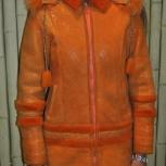 Продам дублёнку для девочки 8-11 лет цвет апельсин отл.состояние, Новосибирск