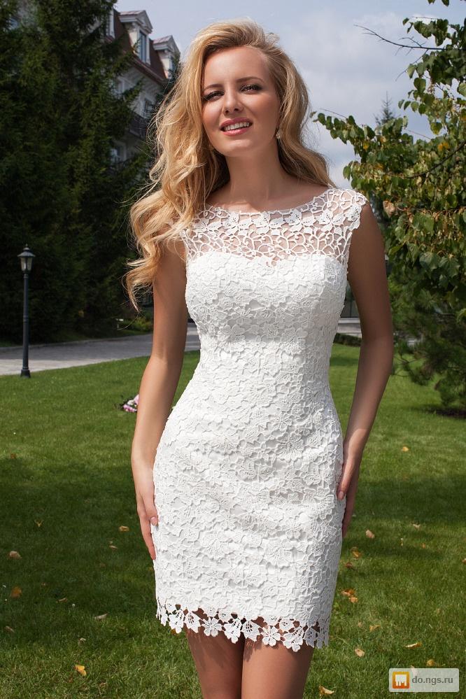 Платье из кружева свадебное короткое