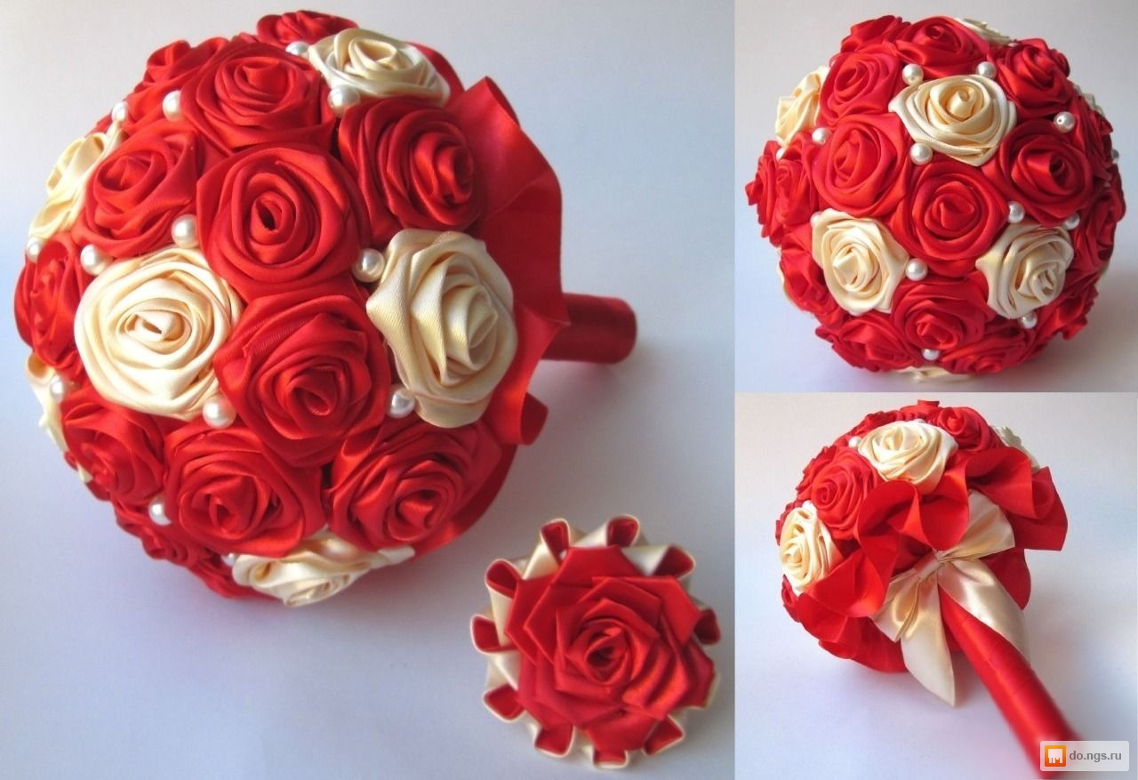 Роза из атласной ленты для букета своими руками пошаговое фото