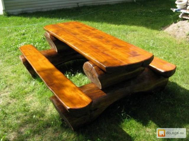 Мебель из бревен на даче