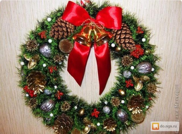 Венок новогодний из мишуры своими руками пошагово