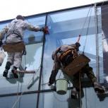 Мытье окон фасада. Мойка витрин и рекламных конструкций, Новосибирск