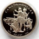 Канада 1 доллар 1990 Серебро. Экспедиция Келси, Новосибирск