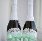 Украшение на бутылки шампанского на свадьбу своими руками