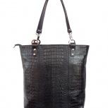 Стильная кожаная сумка Protege под каймана черная, Новосибирск