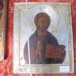 Икона старинная Господь Вседержитель в окладе, Новосибирск