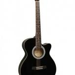 Фолк гитара с вырезом FLIGHT F 130 BK цвет черный, Новосибирск