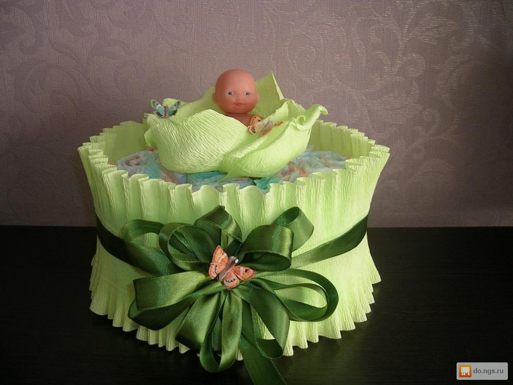 Маленький торт из памперсов своими руками пошагово фото
