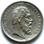 Вюртемберг 5 марок 1875 Серебро. Отличная, Новосибирск
