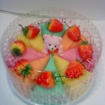 Клубничный тортик с медвежонком (подарочный текстиль), Новосибирск