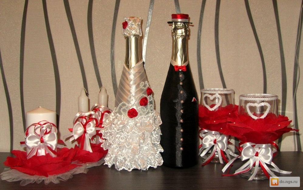 Украсить шампанское на свадьбу своими руками из атласных лент 107