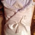 Продам зимний одеяло-конверт на выписку бежевого цвета, Новосибирск