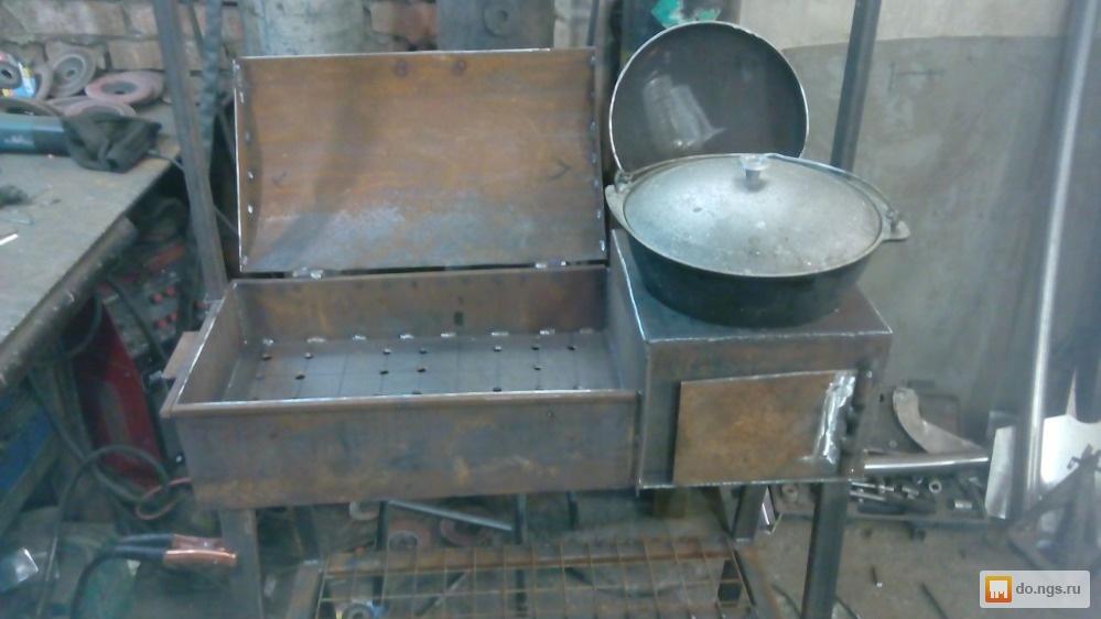 Печь под казан с мангалом из металла своими руками 12