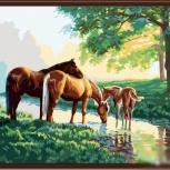 """Картина по номерам """"Лошадки на водопои"""" 40х50 см, Новосибирск"""