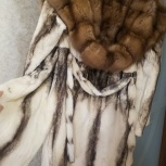 Шуба стриженная норка с соболиным капюшоном, Новосибирск