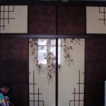 Двери купе декоративные рисунки, кожа, Новосибирск