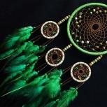 Зелёно-кремовый ловец снов с нефритом, Новосибирск
