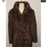 Продам норковую шубу с капюшоном и поясом темно-коричневого цвета, Новосибирск