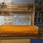 Подростковая кровать со шкафом и навесными полками, Новосибирск