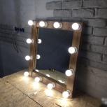 Зеркало гримерное Лофт 80х80 ручная работа, Новосибирск