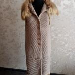 Вязанный длинный жилет с мехом рыжей лисы, Новосибирск